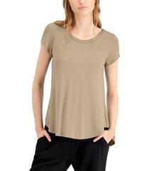 alfani satin-trim high-low t-shirt, in regular & petite, created for macy's