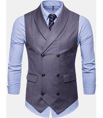 mens suit doppio petto senza maniche business casual plain vest