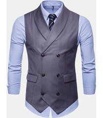 mens suit doppio petto senza maniche business casual plain vest