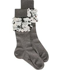 nº21 macro-sequin embellished socks - grey