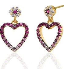 gabi rielle women's 14k gold vermeil & cubic zirconia cutout mini heart earrings