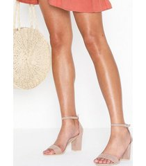 nly shoes block mid heel sandal high heel dusty pink