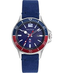 nautica n83 men's accra beach blue, red nubuk leather strap watch 43mm