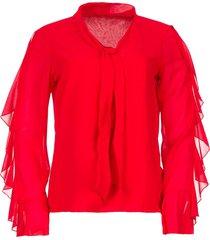 blouse met ruches vela  rood