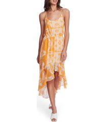 women's 1.state tie dye high/low dress, size large - orange