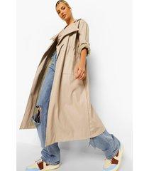 oversized nepleren parka jas, stone