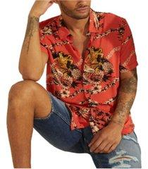 guess men's eco rayon luau nights shirt