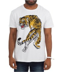heads or tails 3d graphic tiger studded t-shirt