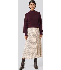 na-kd classic big check pleated skirt - beige