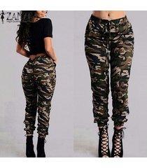 zanzea pantalon femme pantalones de camuflaje militar mujeres impreso cintura elástica primavera verano pantalones pantalones largos con cordón -oro