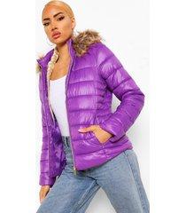 glanzende gewatteerde jas met faux fur zoom, purple