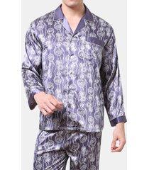 soft set pigiama per uomo, manica lunga, in seta sintetica