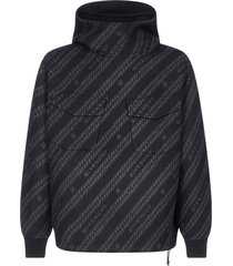 givenchy all-over-logo oversize wool-blend hoodie