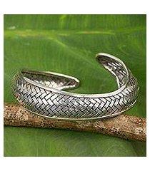silver cuff bracelet, 'swimming fish' (thailand)