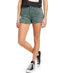 women's blanknyc the barrow tiger print high waist denim shorts