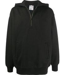 acne studios half-zip hooded sweatshirt - black