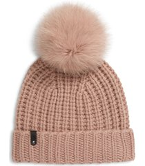 women's mackage cashmere & wool beanie with genuine fox fur pom - pink