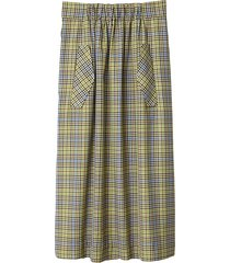 recycled menswear check skirt in green/beige multi