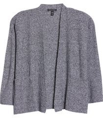 eileen fisher open front organic linen & cotton cardigan, size x-small in black/white at nordstrom