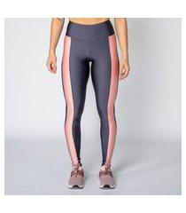 calça legging poliamida grafite com recorte rosê feminina água e luz