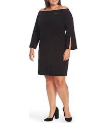 plus size women's vince camuto embellished off the shoulder long sleeve dress