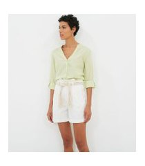camisa manga longa lisa com decote v | marfinno | verde | p