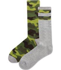 hot sox men's 2-pk. camouflage stripe half cushion crew socks