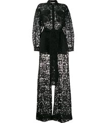 valentino floral lace belted jumpsuit - black