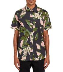volcom men's cut out floral short sleeve shirt