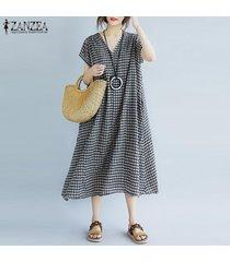 zanzea las mujeres de manga corta a cuadros compruebe verano vestido de tirantes de gran tamaño vestido de midi plus -negro