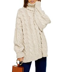 women's topshop chunky cable turtleneck sweater, size medium - beige
