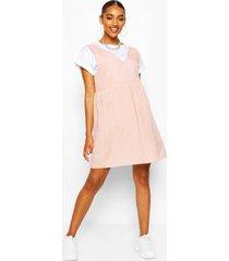 maternity linen smock pinafore dress, pastel pink