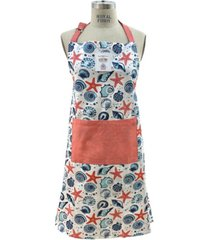 mod lifestyles starfish and shell print tie-back big front pocket apron