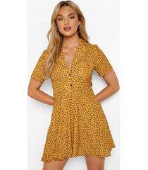 blouse style skater jurk met stippen, mustard