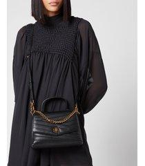 tory burch women's kira chevron top-handle satchel - black
