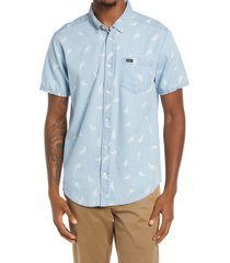 rvca hastings floral short sleeve cotton button-up shirt, size large in washed denim at nordstrom
