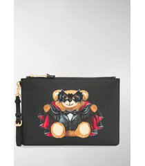 moschino bat teddy print clutch bag