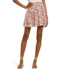 women's vero moda simply short print skater skirt, size x-large - red