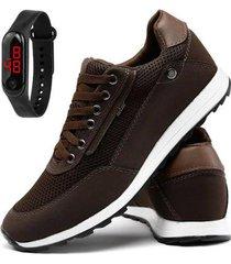 kit sapatênis em couro sapatofran jogging + relógio digital masculino - masculino