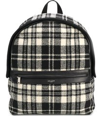 saint laurent camp tartan backpack - black