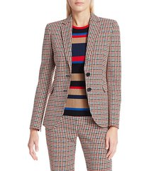 akris punto women's houndstooth blazer - multi luminous red - size 4