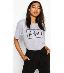 tall 'paris' slogan t-shirt, grey