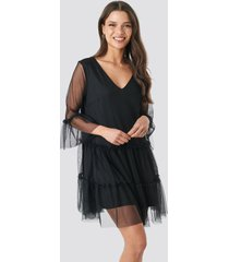 na-kd ruffle mesh mini dress - black