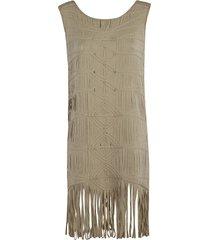 blumarine tassel detail sleeveless dress