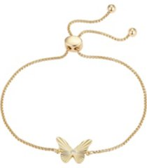 gold flash-plated crystal butterfly adjustable bolo bracelet