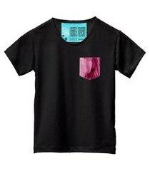 camiseta masculina algodão bolso estampa manga curta moderna