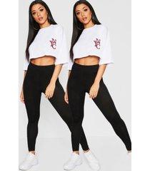 basic leggings met hoge brede taille (2 stuks), zwart