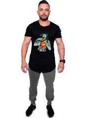 camiseta longline kruger's concept chaves chapolin preto