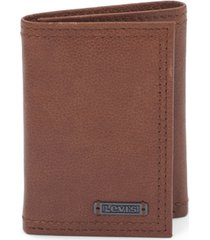 levi's men's leather brown rfid trifold wallet