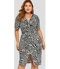 yoins plus talla zebra dobladillo con hendidura twist v-neck vestido
